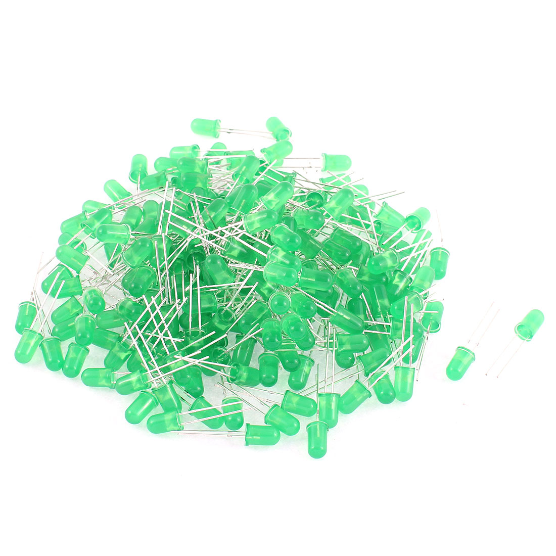 200pcs 5mm Diffused Green Round Top LED Light Emitting Diodes Bulbs