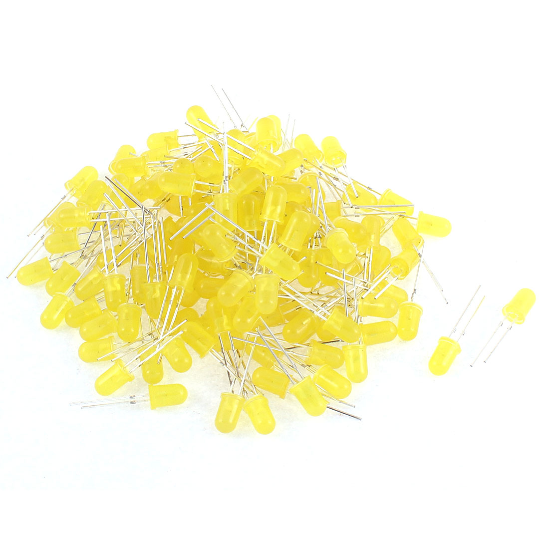150pcs 5mm Round Head Yellow Light Diffused Emitting Diode LED Bulbs