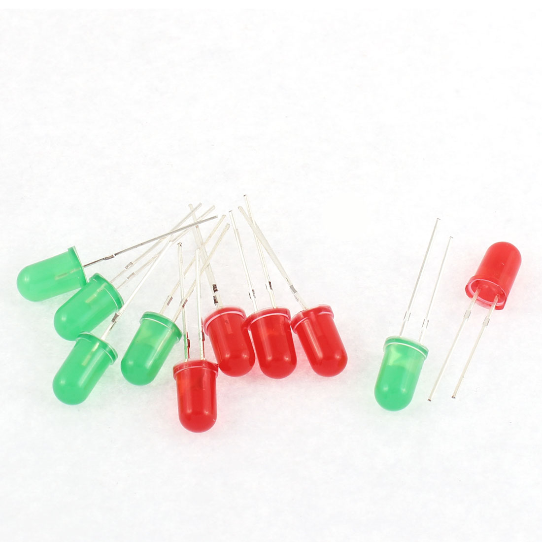 10pcs 5mm Green Red Light Emitters Emitting Diodes DIY LED Bulbs