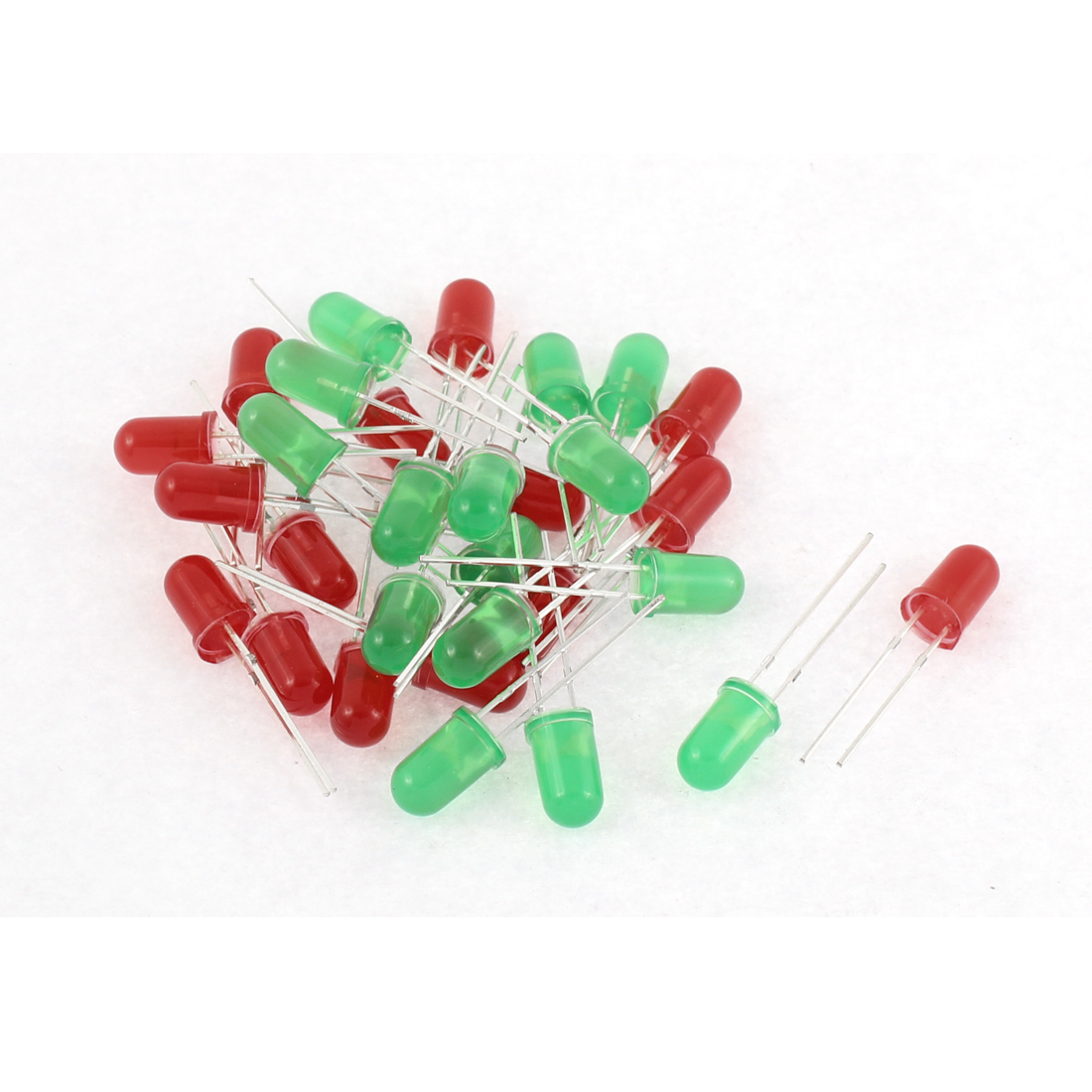 30pcs 5mm Round Top Red Green Lights Diffused LED Emitting Diode Beads