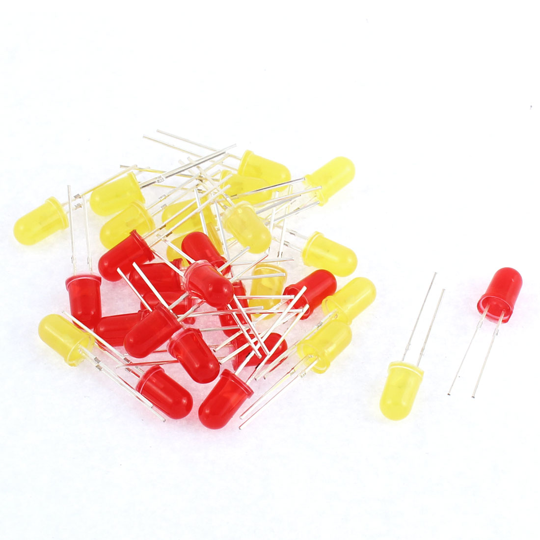 30pcs 5mm Red Yellow Color LED Light-emitting Diode Beads Bulbs Lamp