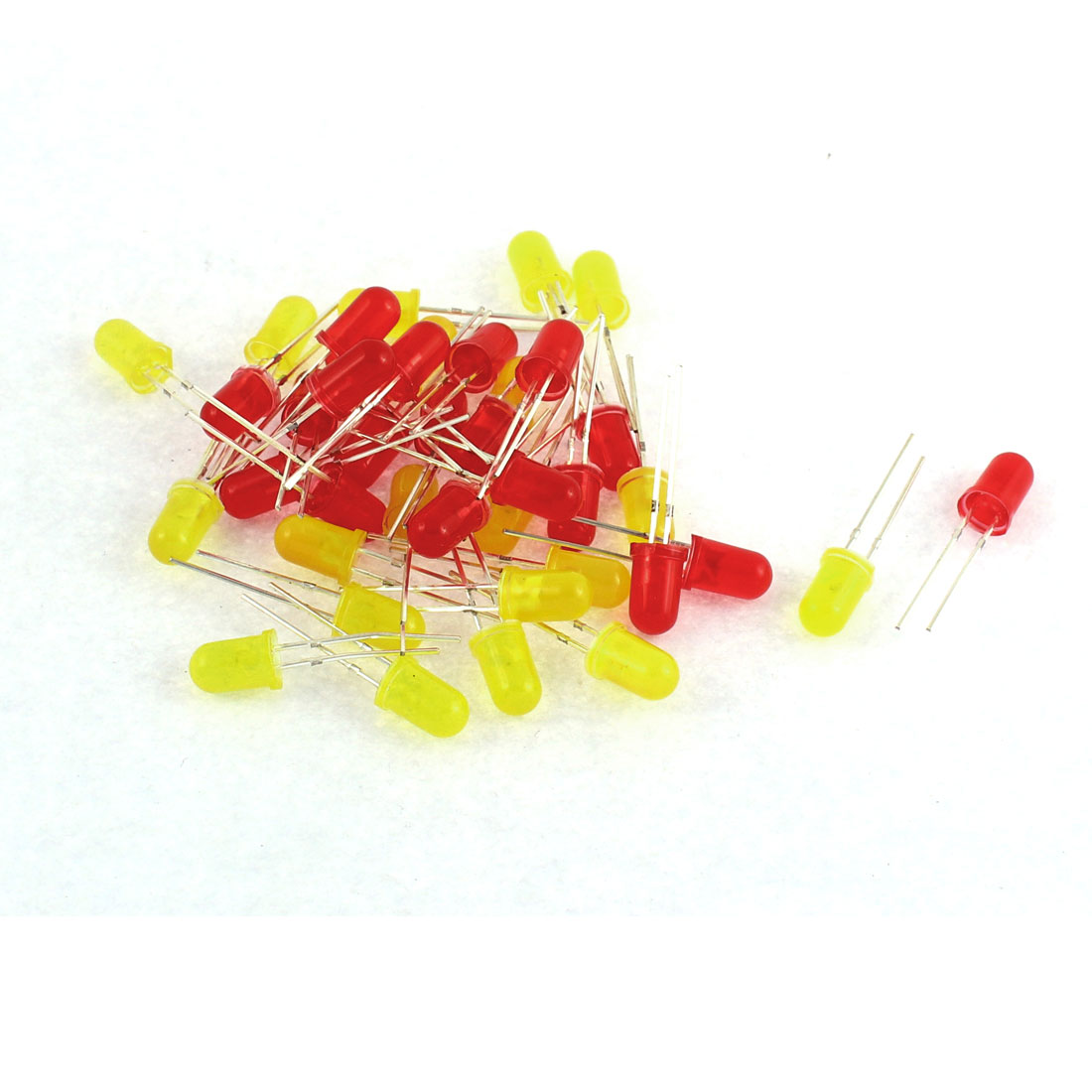 40pcs 2 Terminals Round Top Red Yellow Diffused Light Emitting Diode LEDs
