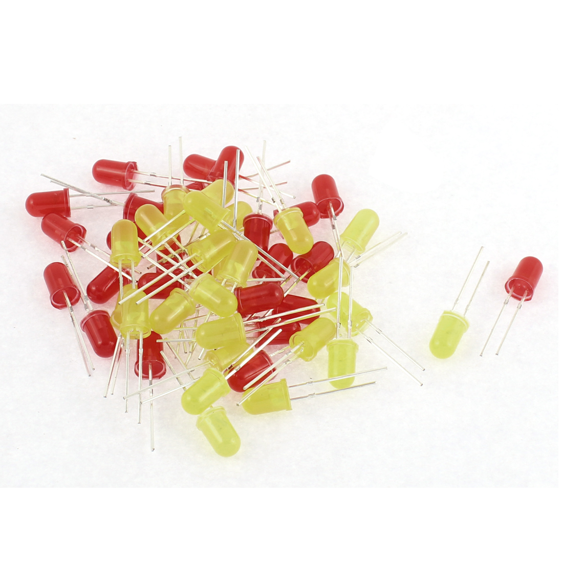 50pcs 5mm Round Red Yellow Diffused Emitting Diode LED Light Lamp Bulb
