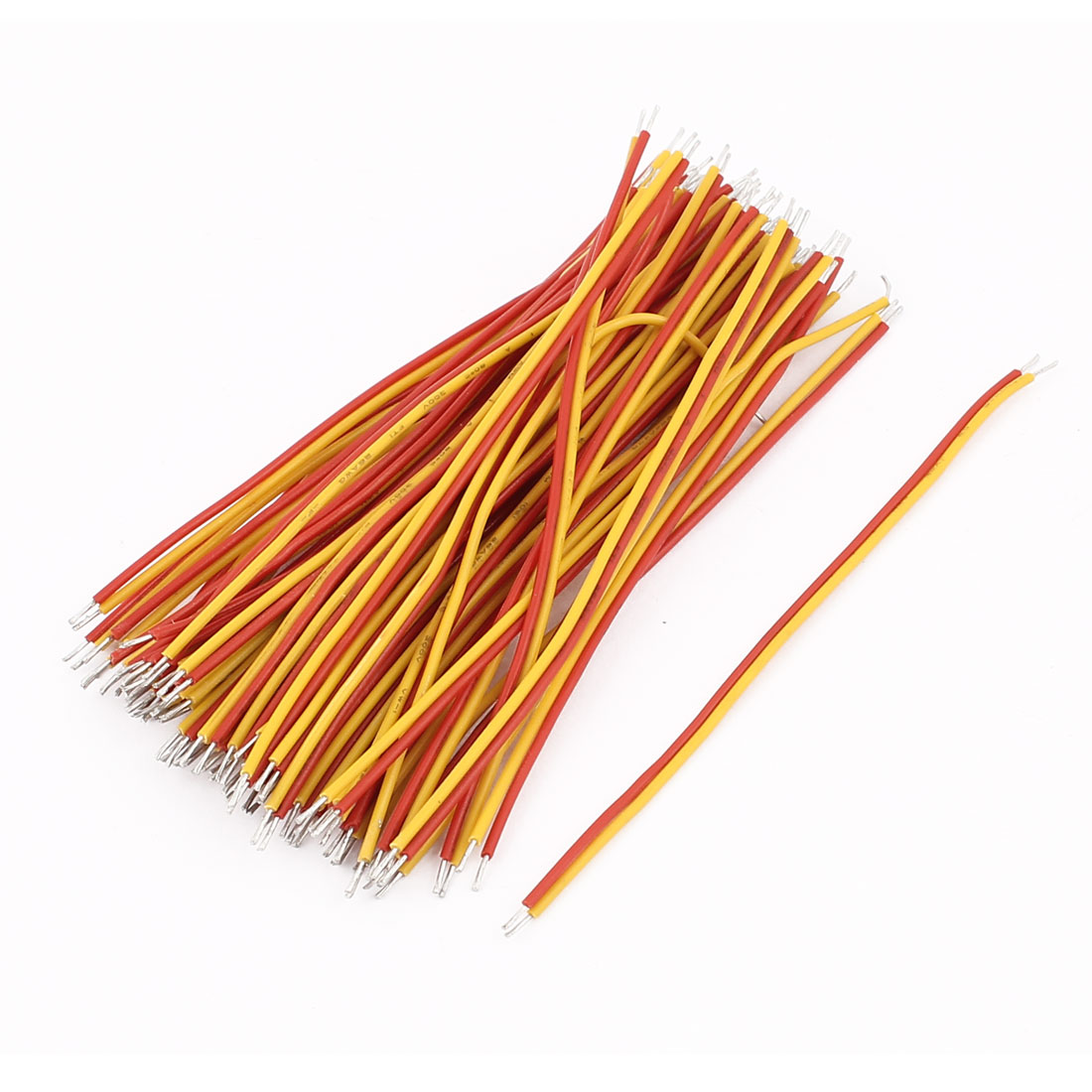 0.8mm x 80mm Dual Terminals Electric Insulated Flexible PVC Wire Cable 50Pcs