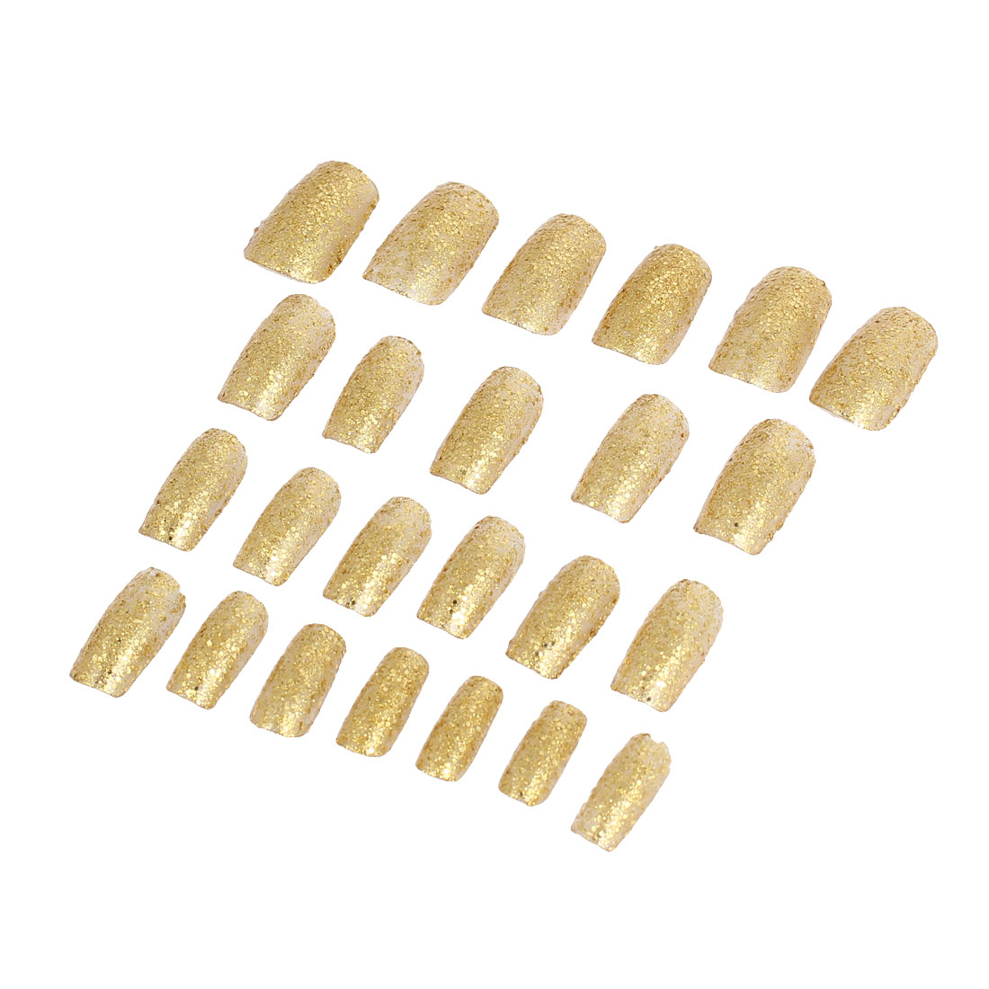 Lady Powder Detail DIY Fake False Fingernail Full Nail Art Tip Gold Tone 24 in 1