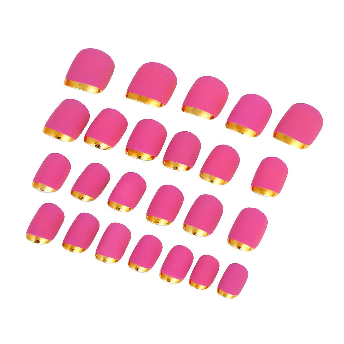 Women Lady DIY Fake False Fingernail Full Nail Art Tip Tool Fuchsia 24 in 1
