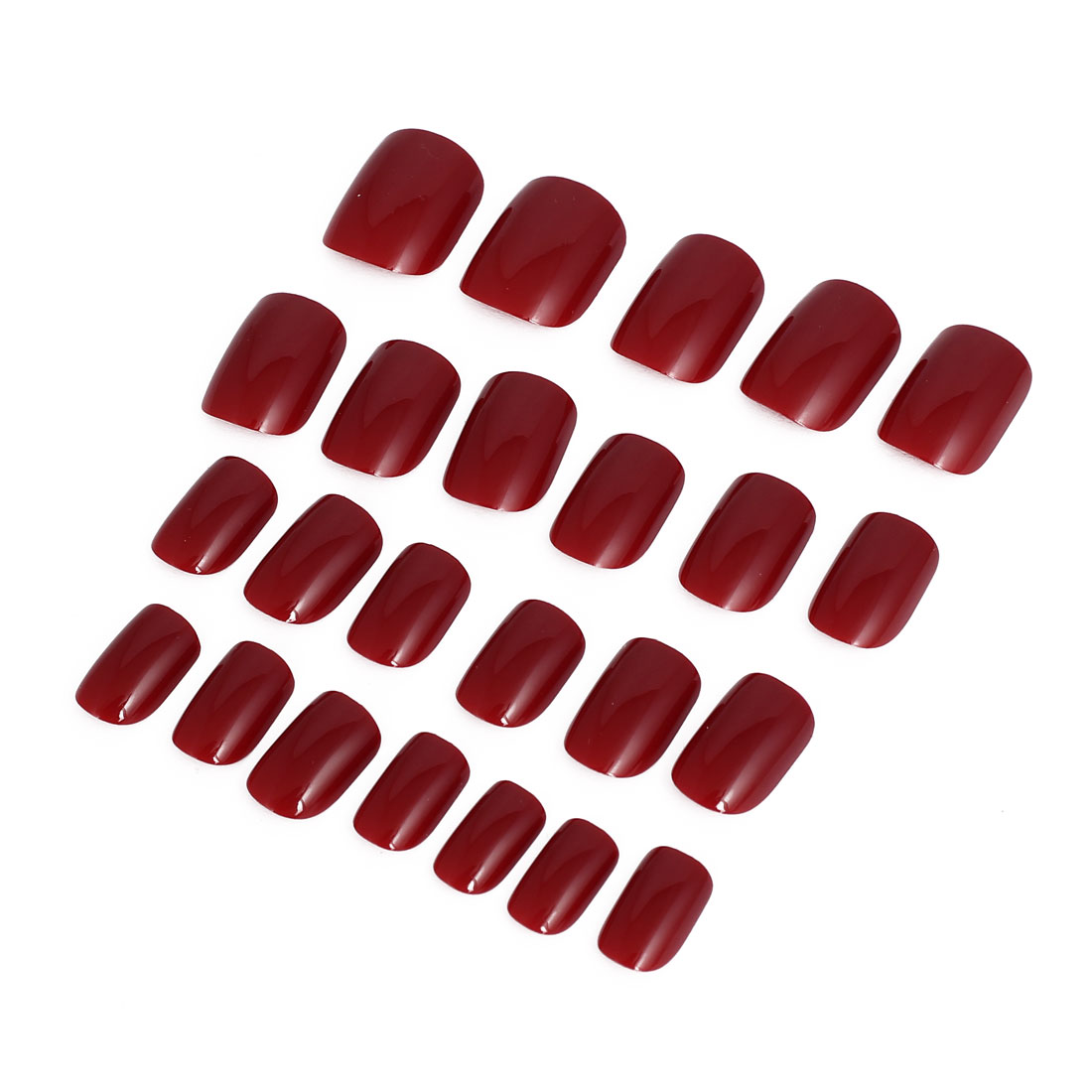 Women Lady DIY Fake False Fingernail Full Nail Art Tip Tool Red 24 in 1