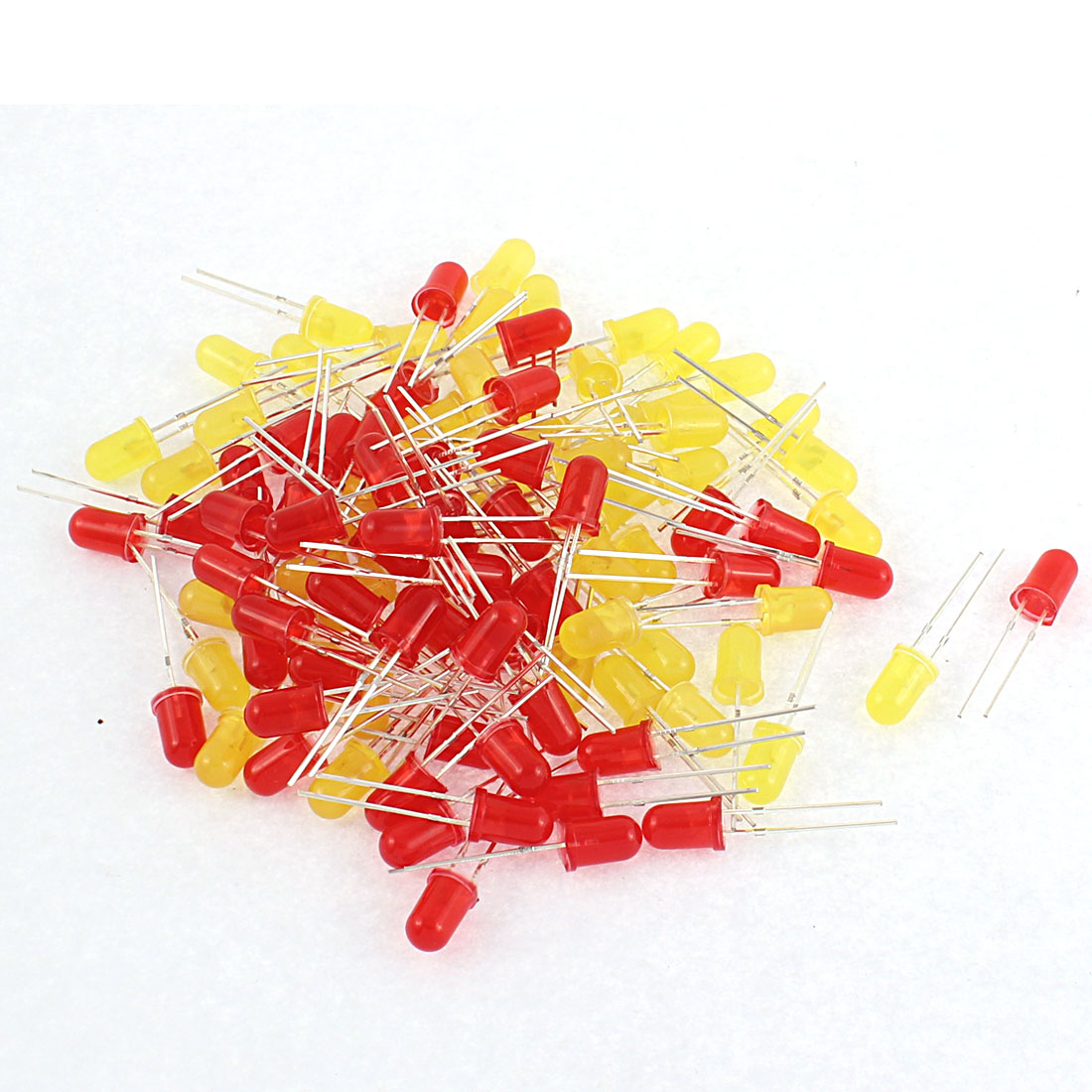 100pcs Round Head Red Yellow Lights Emitting Diode LED Bulb Lamps