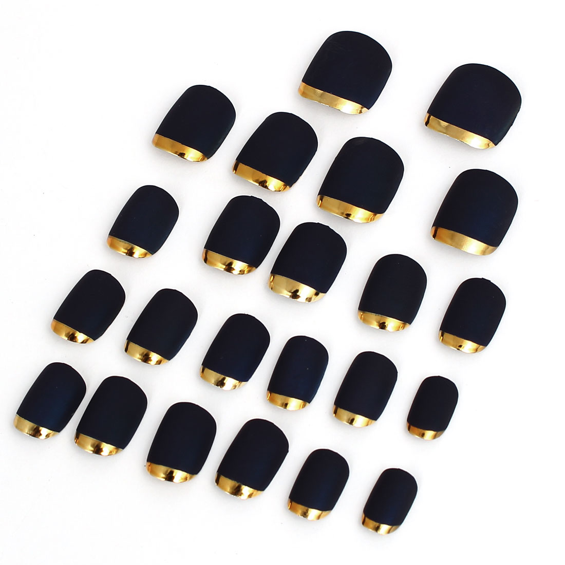 Women Lady DIY Fake False Fingernail Full Nail Art Tip Dark Blue 24 in 1