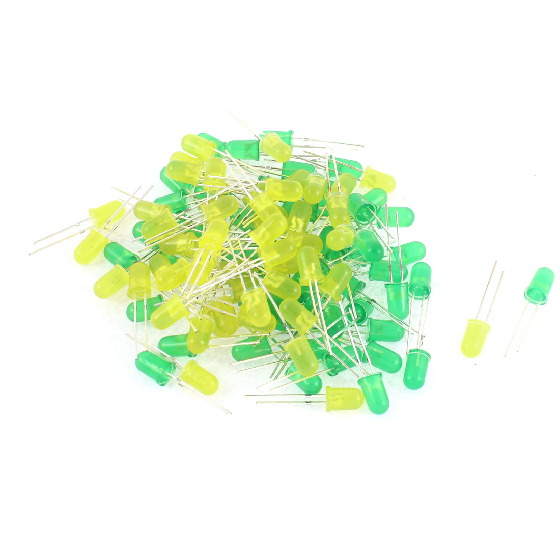 100pcs 5mm Green Yellow Round Diffused LED Light Diode Emitting Bulbs