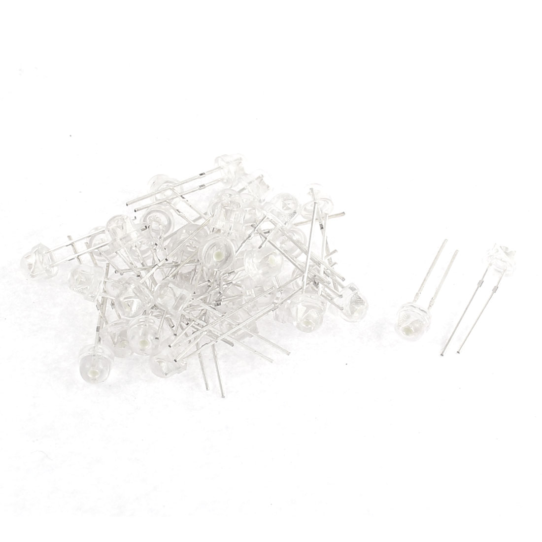 40pcs 5mm Round Head White Light Emitting Diode Leds Bulds Lamp