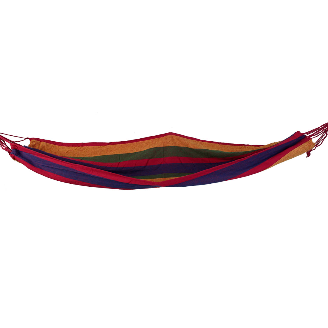280cm x 82cm Striped Pattern Outdoor Camping Hanging Single Hammock Canvas Bed Red w Strap