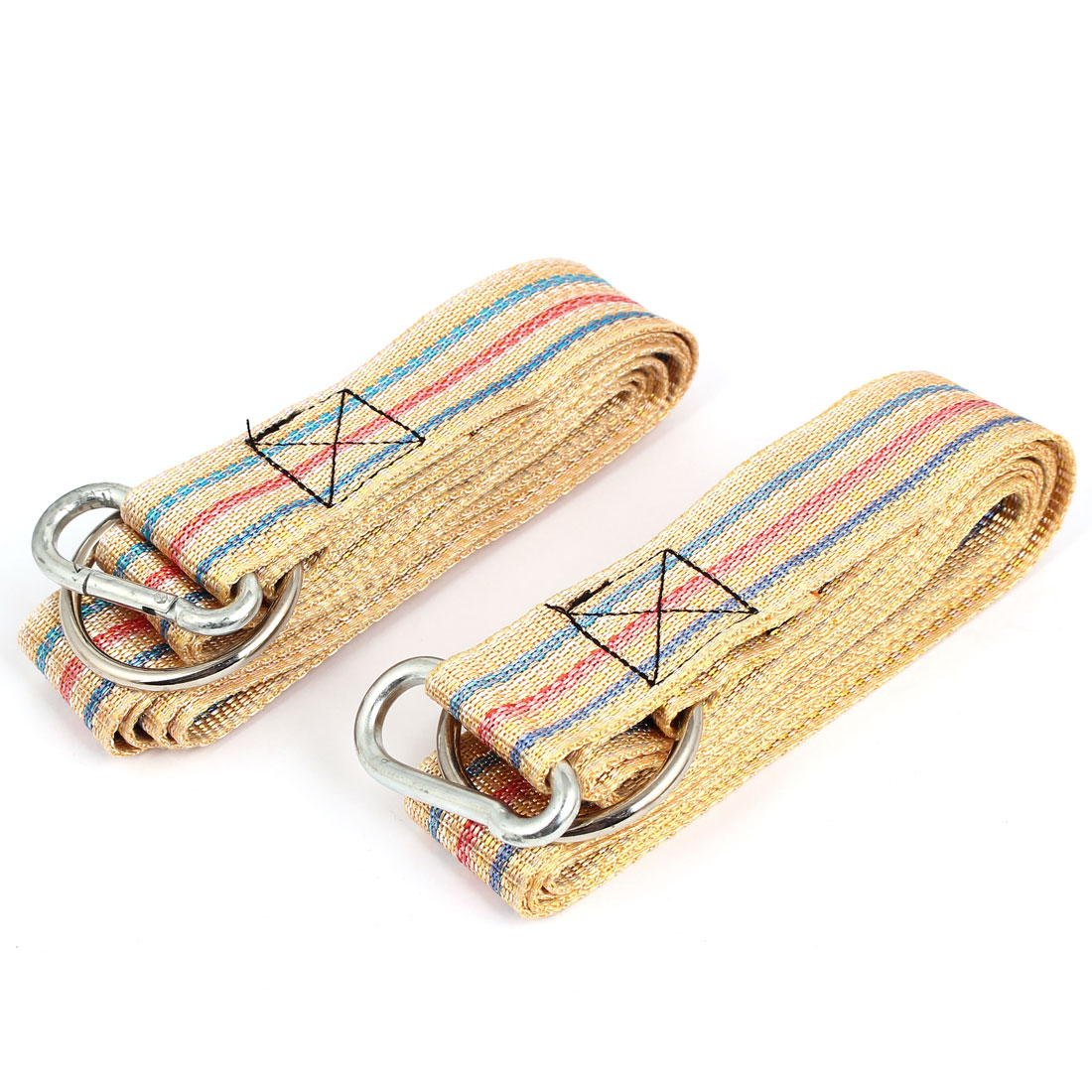 2Pcs Carabiner Hook Clip Stripe Pattern Outdoor Nylon Hanging Hammock Belt Strap Beige 250cm x 3.8cm