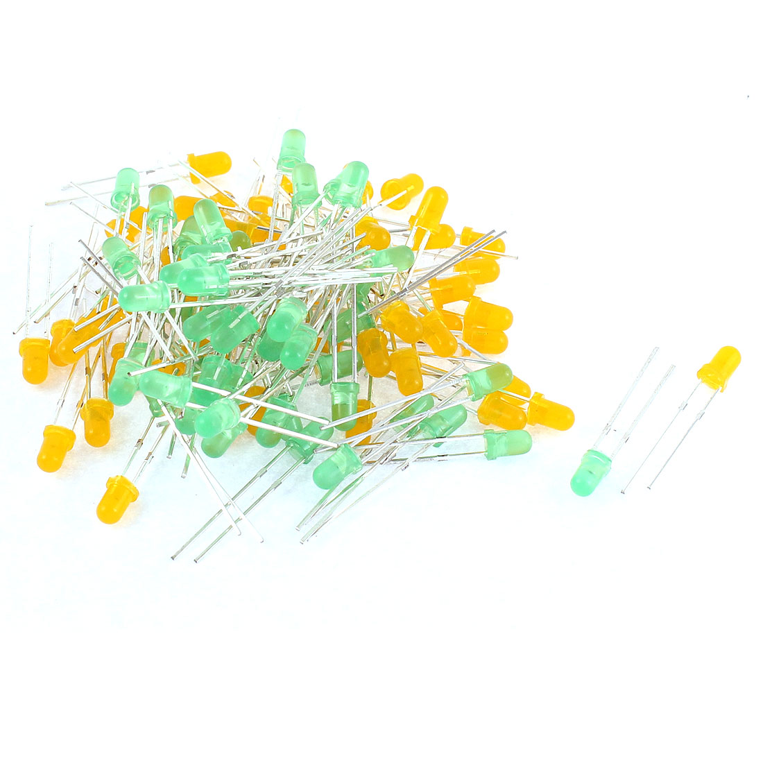 100pcs 3mm Round Top Yellow Green Light Diffused Emitting Diode Lamps Beads