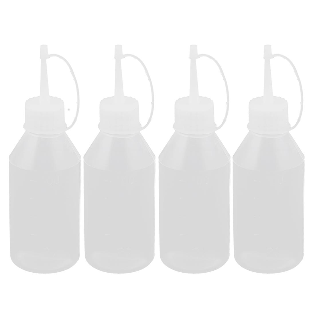 Plastic Kitchen Sauce Vinegar Ketchup Squeeze Bottle Dispenser 100ml 4Pcs
