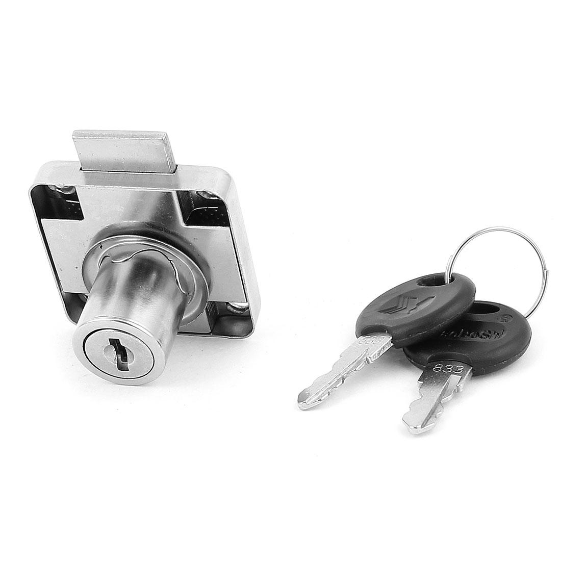 40mm x 40mm Wardrobe Cabinet Drawer Safe Tubular Cylinder Lock Silver Tone