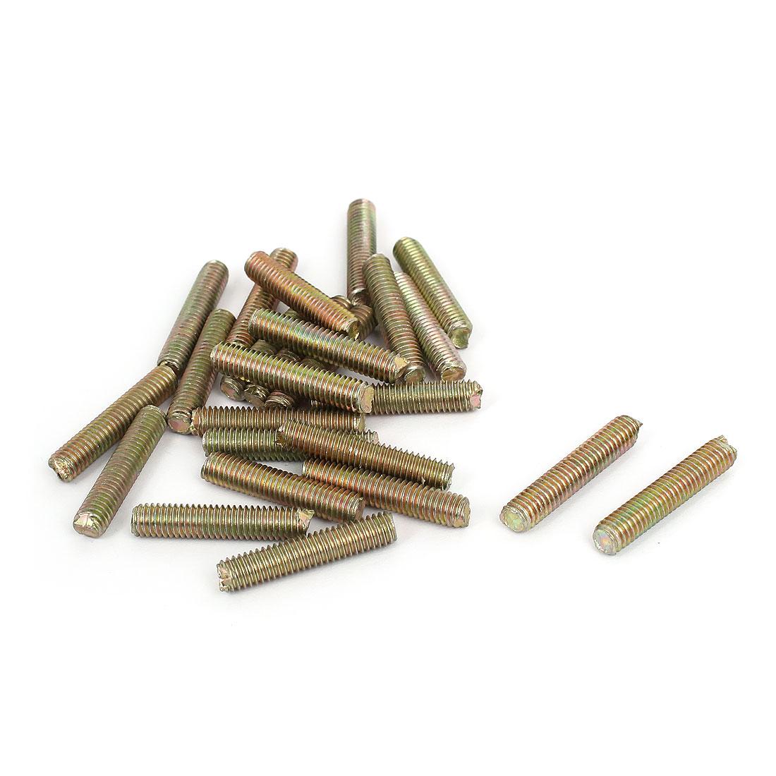 1mm Pitch M6 x 30mm Male Threaded All Thread Rod Bar Stud Bronze Tone 25Pcs