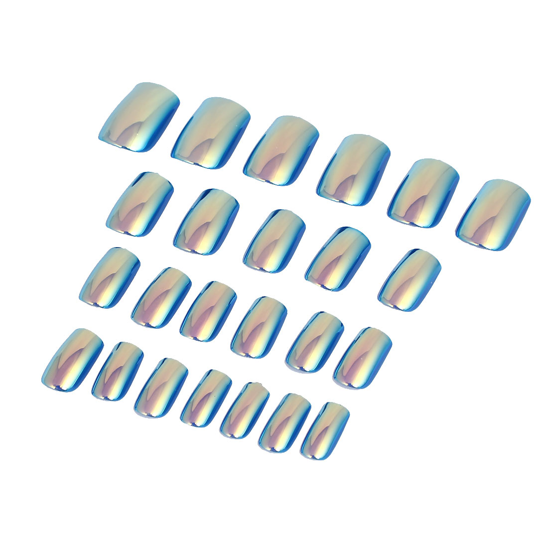 Women Lady DIY Fake False Fingernail Full Nail Art Tip Tool Blue 24 in 1