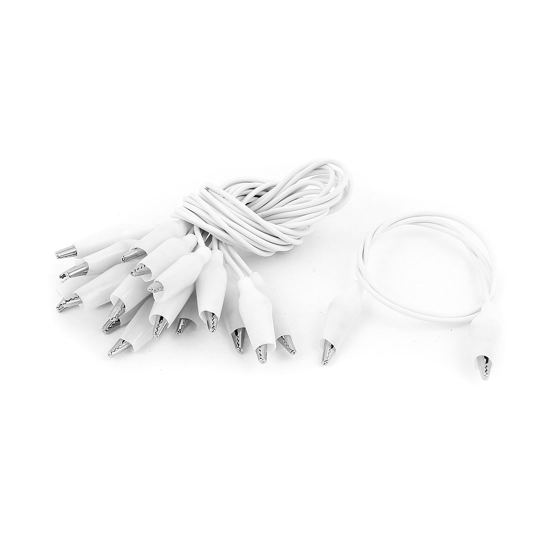 Double-ended Alligator Clip Test Lead Electrical Testing Tool White 10pcs