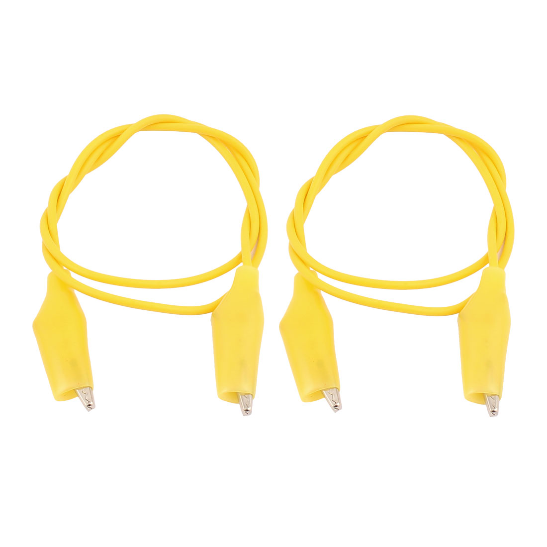 2pcs Yellow Double Ended Test Leads Alligator Crocodile Clip Clamp Jumper Wire 47cm Long