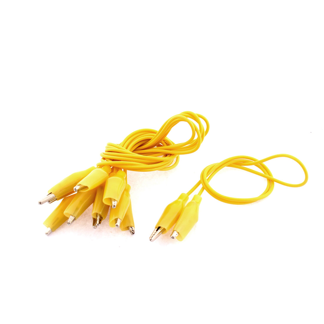 6pcs Electrical Double Ended Alligator Clip Test Lead Jumper Probe Wire Yellow