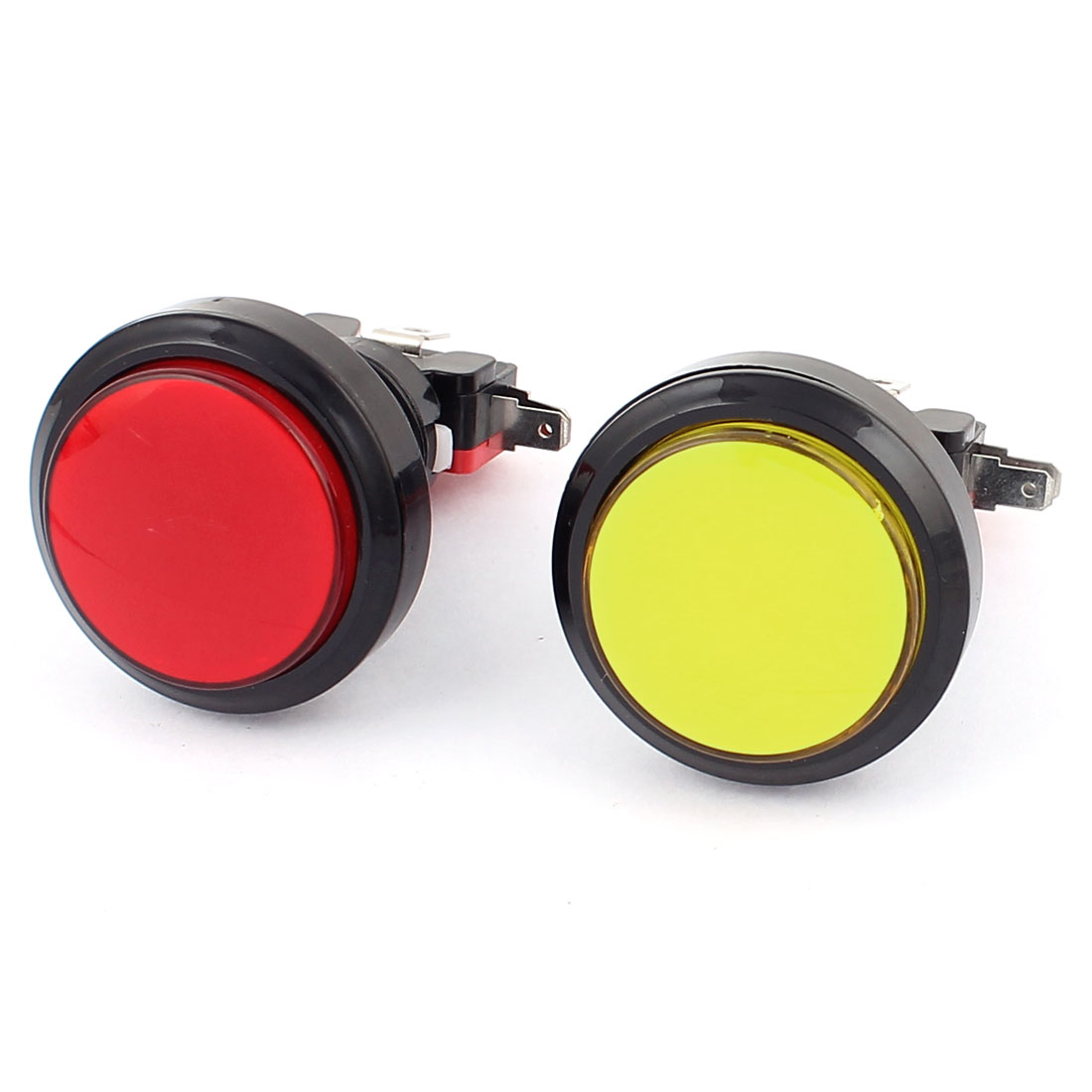 23mm Dia Thread SPDT Momentary Arcade Game Machine Push Button Switch 2Pcs