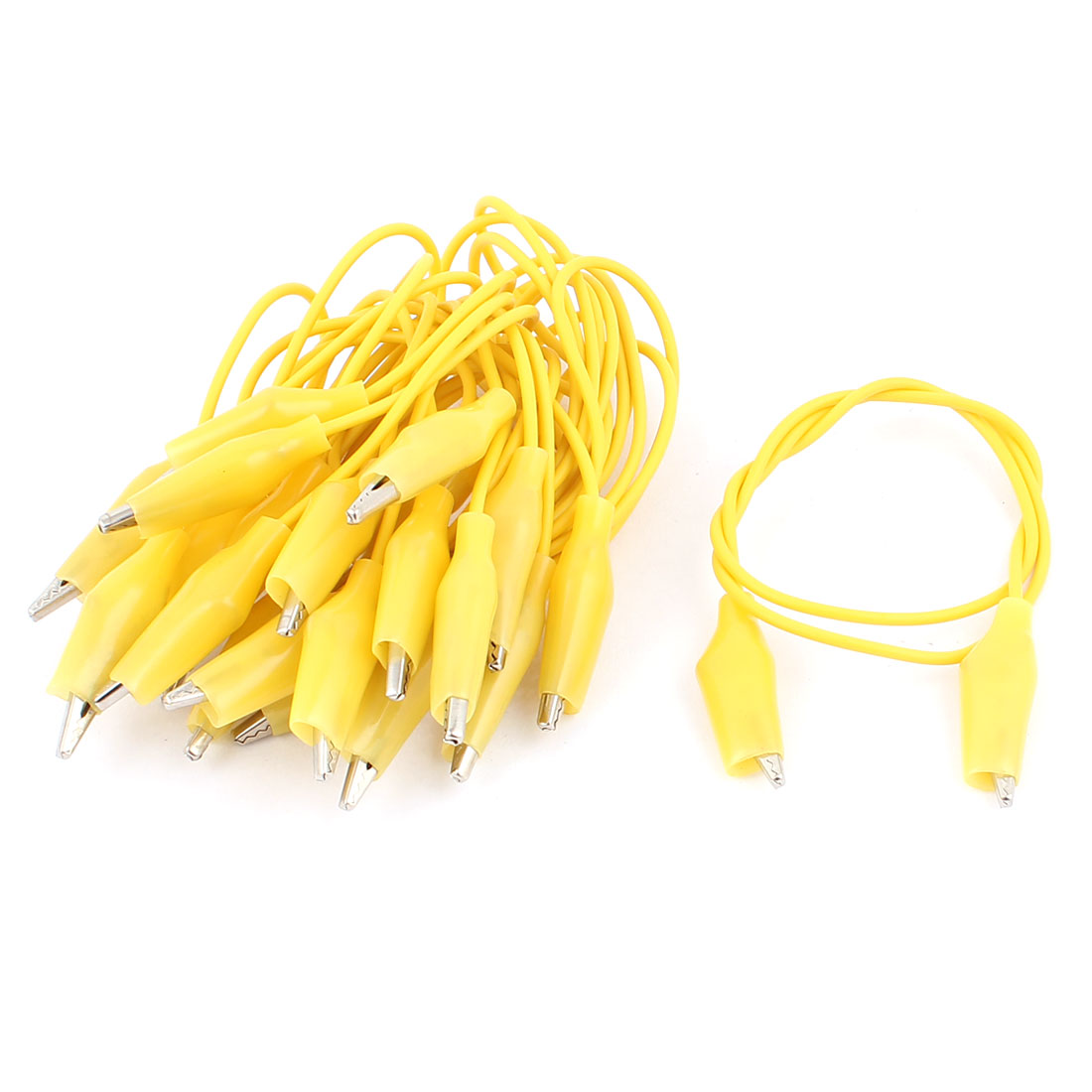 10pcs Yellow Dual Ended Test Leads Alligator Crocodile Roach Clip Jumper Cable 47cm Long