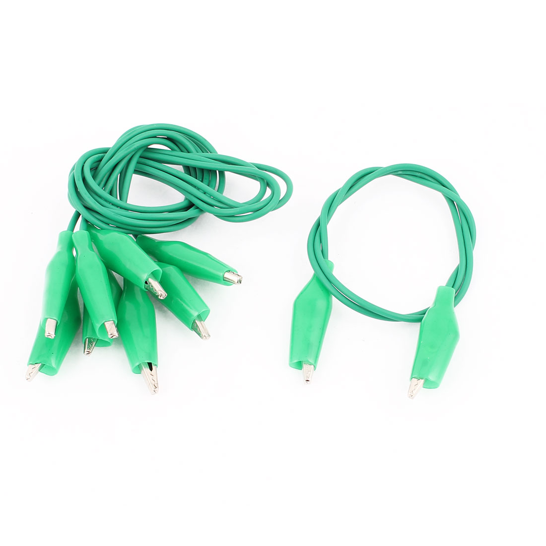 4pcs Green Insulated Dual Ended Testing Test Leads Alligator Clip Jumper Wire Cable 47cm