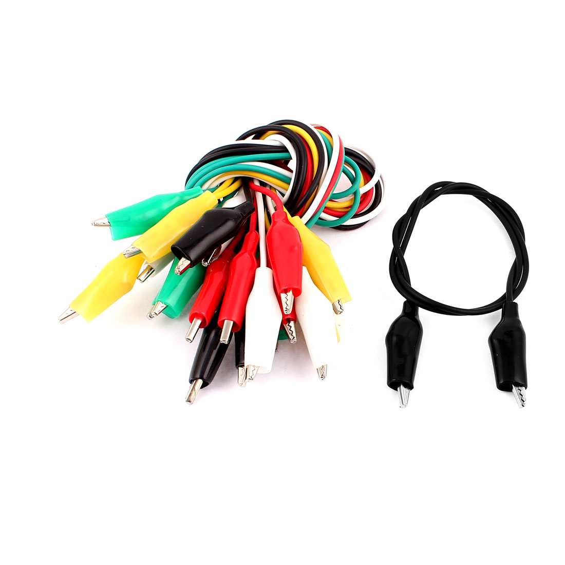 10pcs Assorted Color Dual Ended Alligator Crocodile Clip Test Leads Jumper Wire Cable 47cm