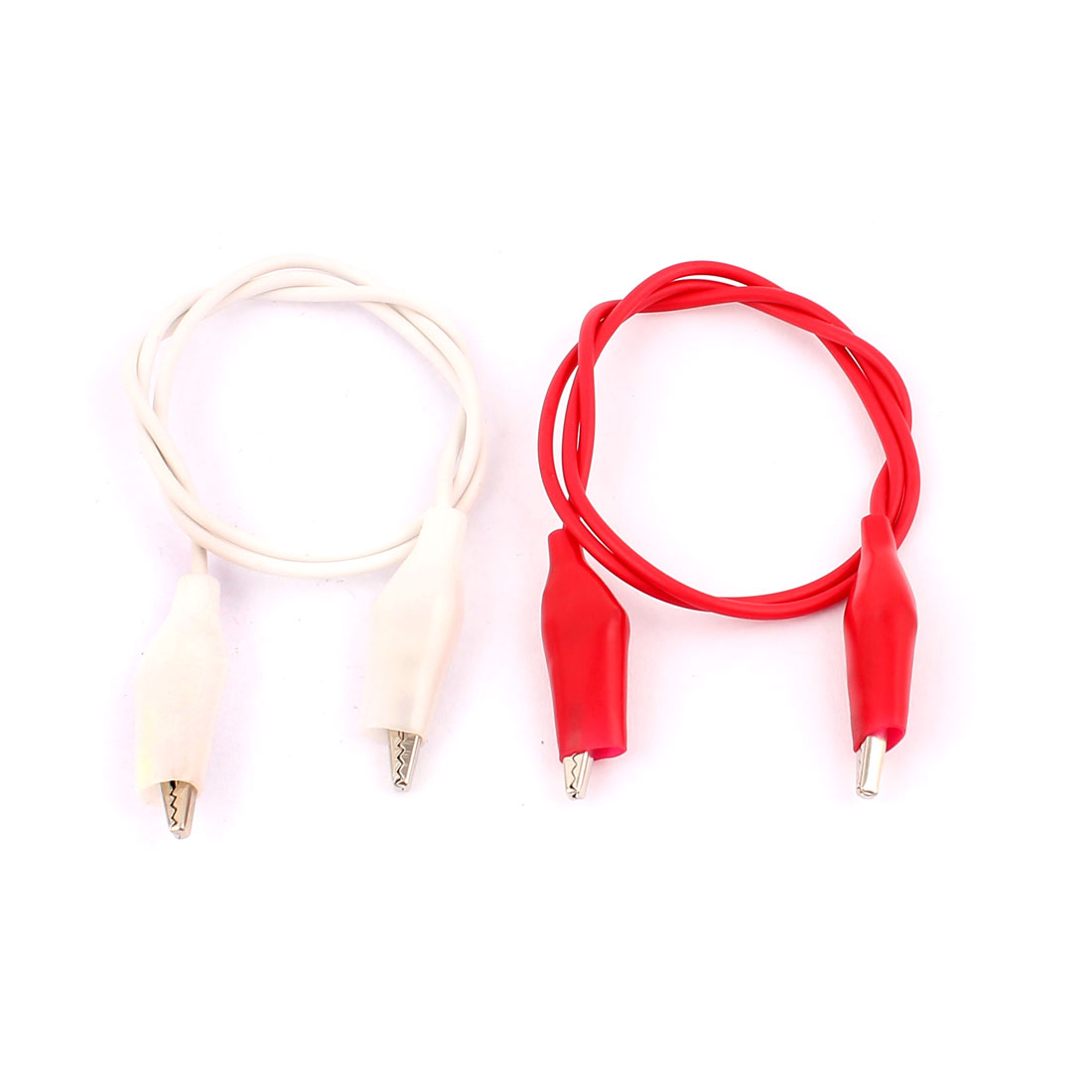 2pcs Red White Dual Ended Alligator Crocodile Roach Clip Test Leads Probe Wire 47cm