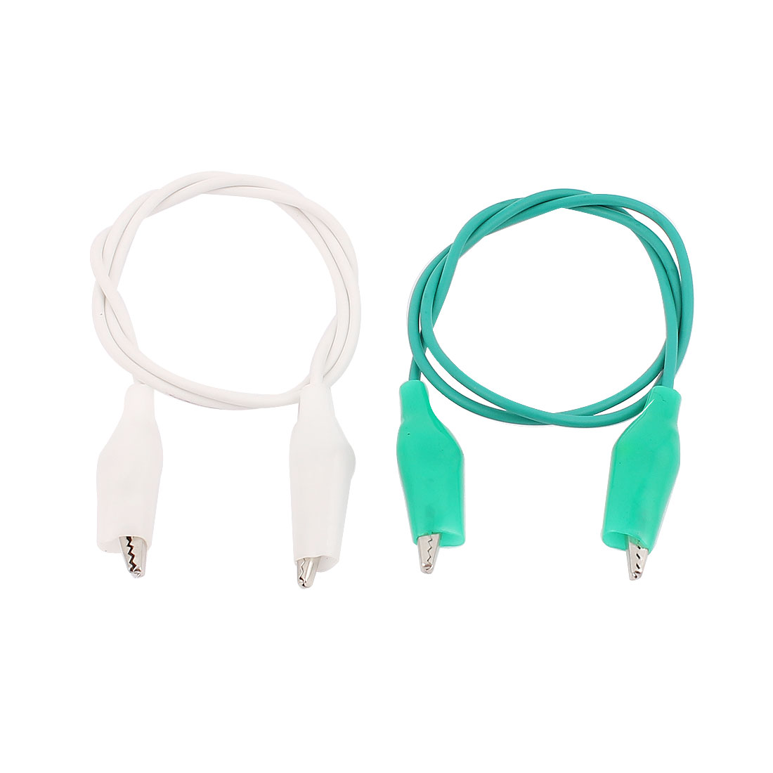 2pcs Green White Insulated Double Ended Alligator Roach Clip Test Leads Probe Wire Cable 47cm