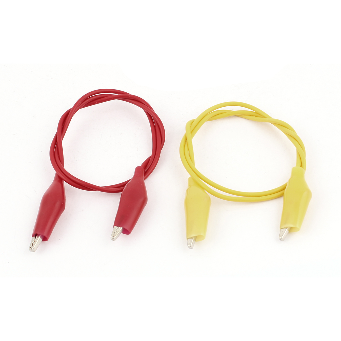 2pcs Red Yellow Dual Ended Alligator Roach Clip Test Leads Jumper Probe Cable Wire 47cm