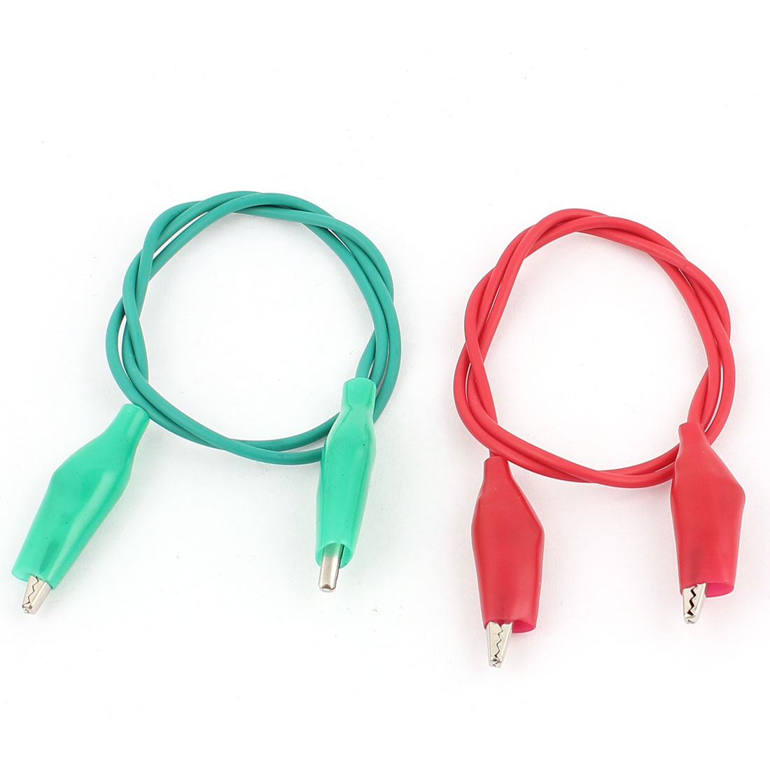 2pcs Red Green Double Ended Alligator Roach Clip Test Leads Jumper Probe Cable Wire 47cm