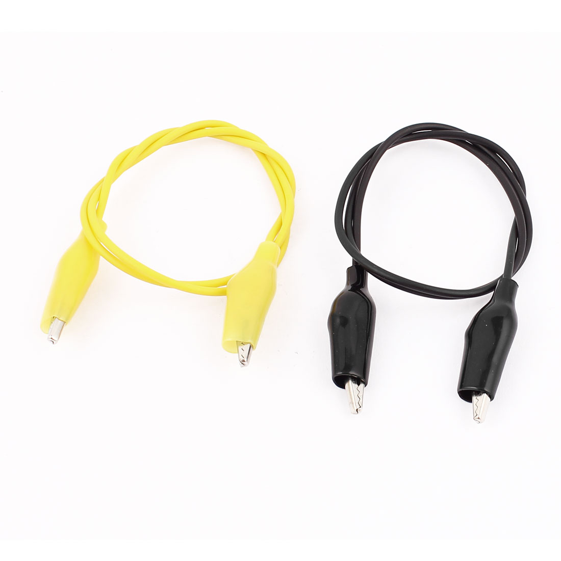 2pcs Black Yellow Dual Ended Alligator Crocodile Clip Test Leads Probe Wire Cable 47cm