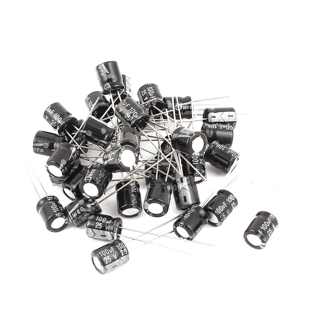 35PCS 100uF 25V Radial Leads Aluminum Electrolytic Capacitors 6.5 x 8mm