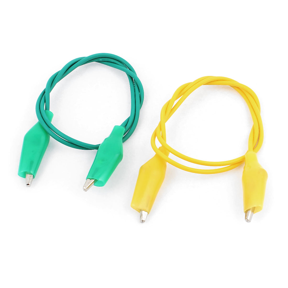 2pcs Yellow Green Insulated Double Ended Alligator Clip Test Leads Jumper Probe Cable Wire 47cm