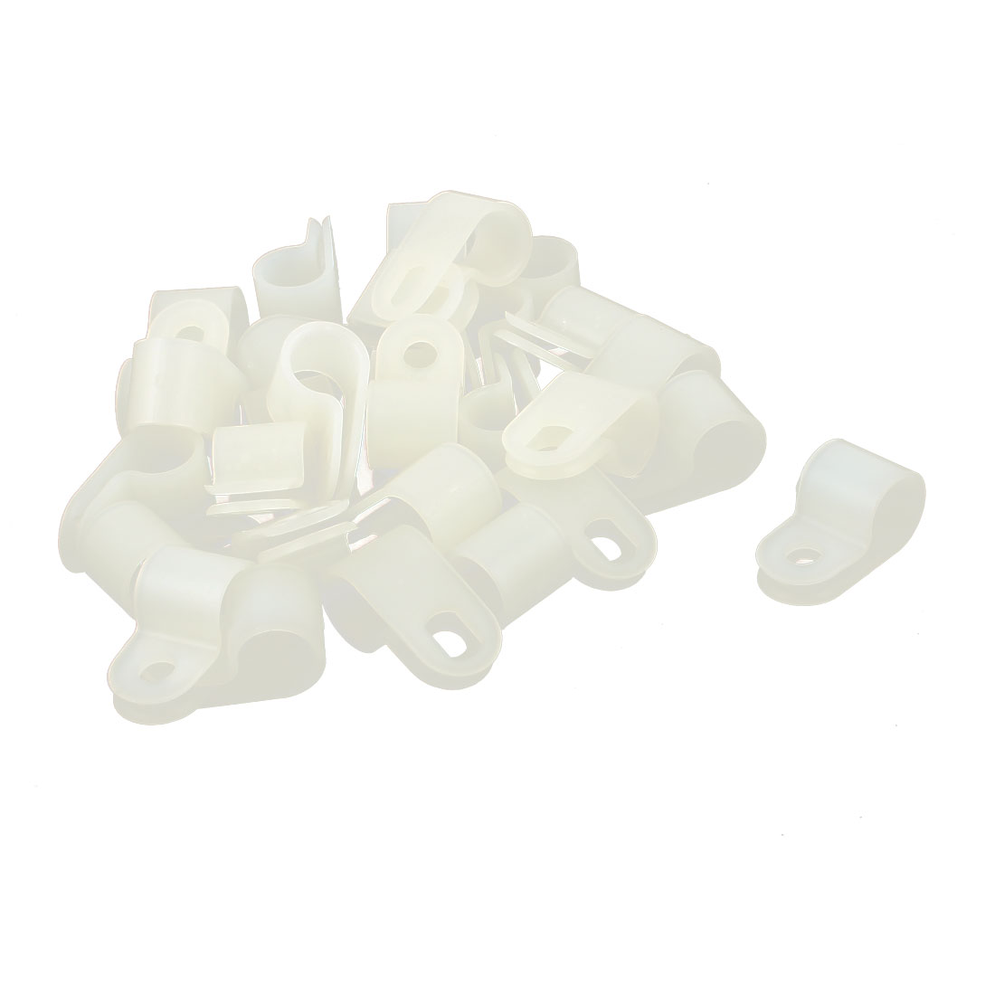 30Pcs White Plastic R Type Cable Clip Clamp for 8.4mm Dia Wire Hose Tube