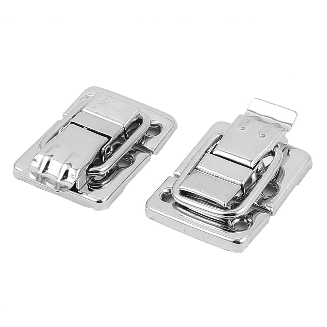 Metal Wardrobe Box Case Latch Hasp Silver Tone 3cm x 3.6cm x 1cm 2Pcs