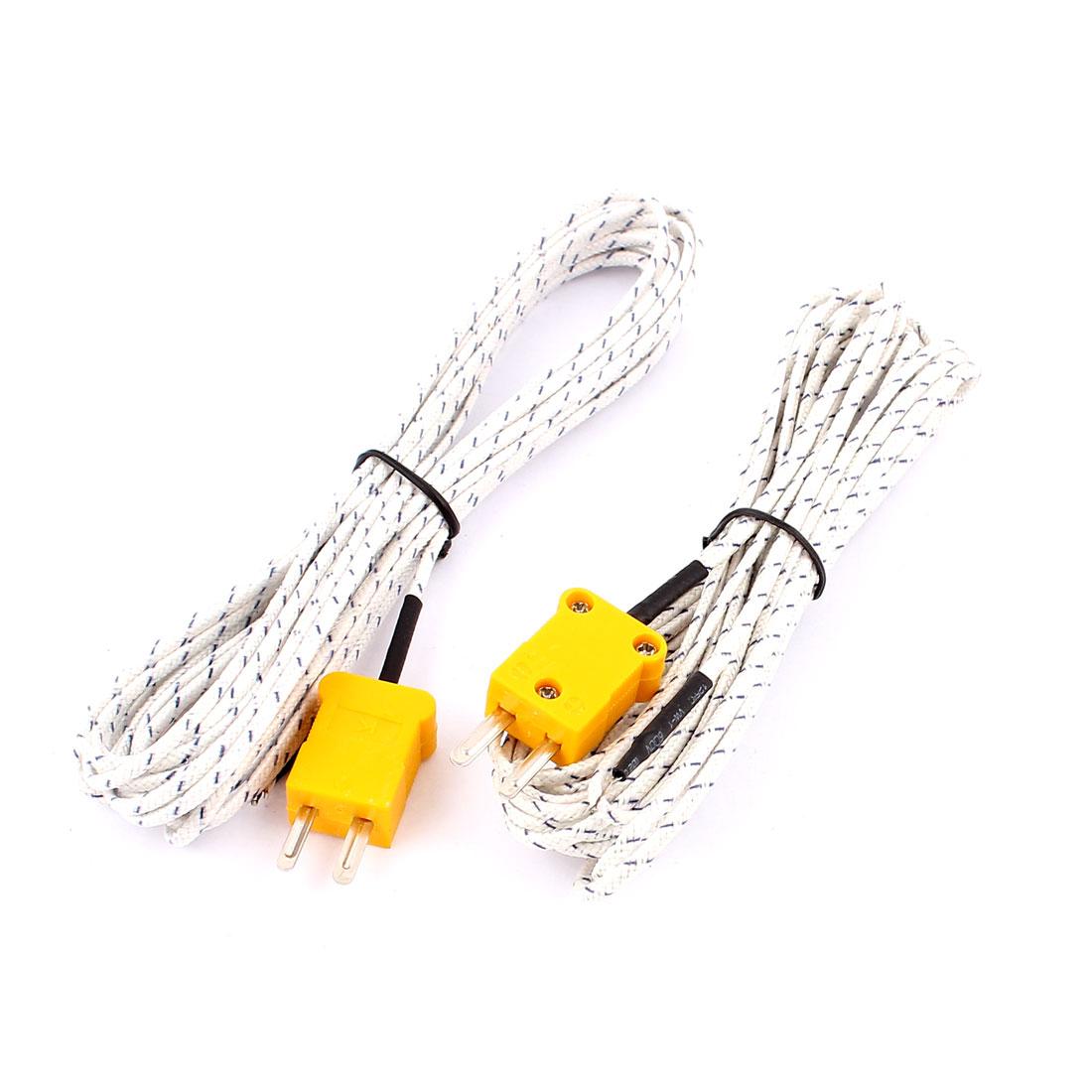 TP-01 K Type Thermocouple Temperature Measurement Probe Sensor Cable Cord 500cm 16Ft Long 2pcs