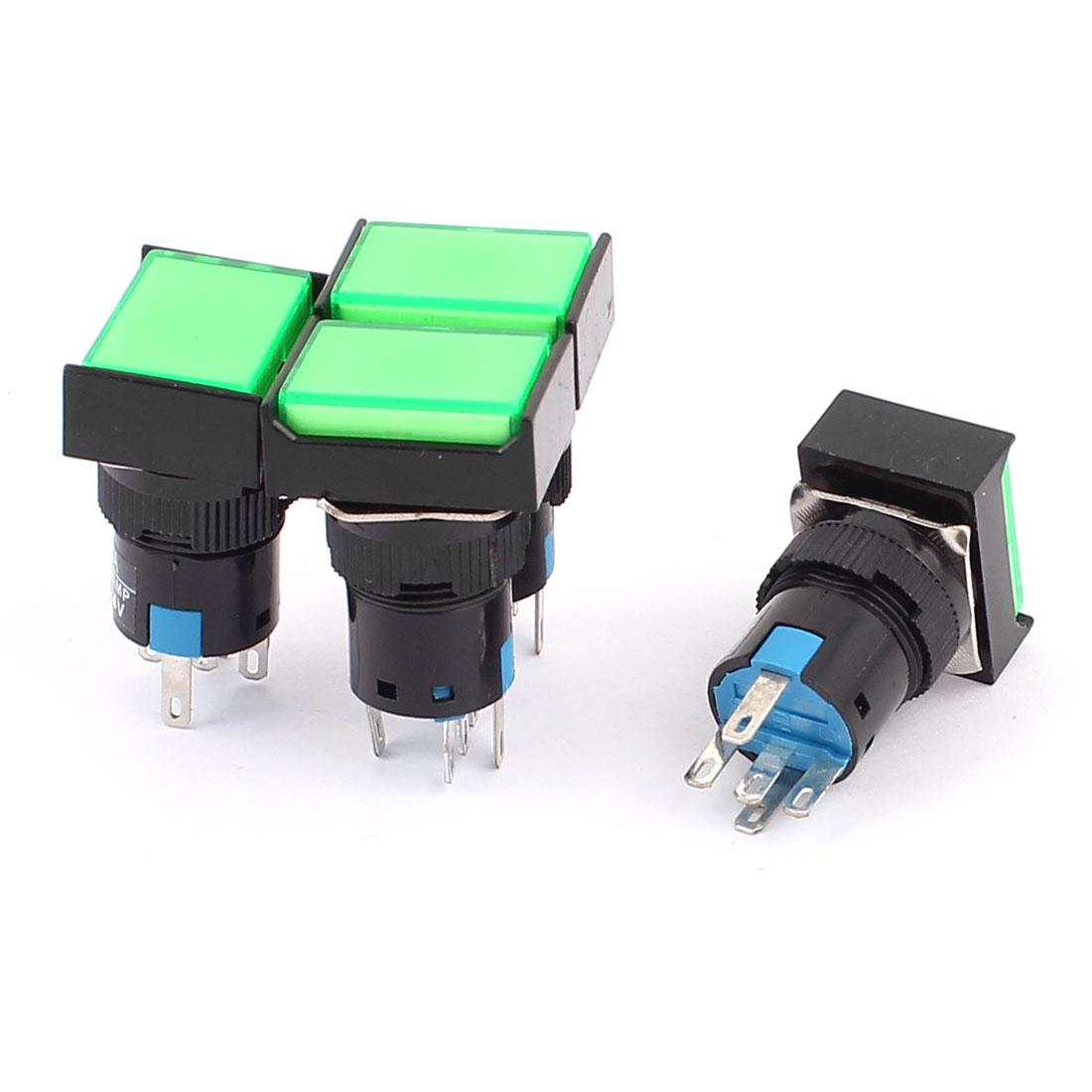 AC 250V 3A DC 30V 5A SPDT 5 Terminals Green Cap Momentary Push Button Switch 4Pcs