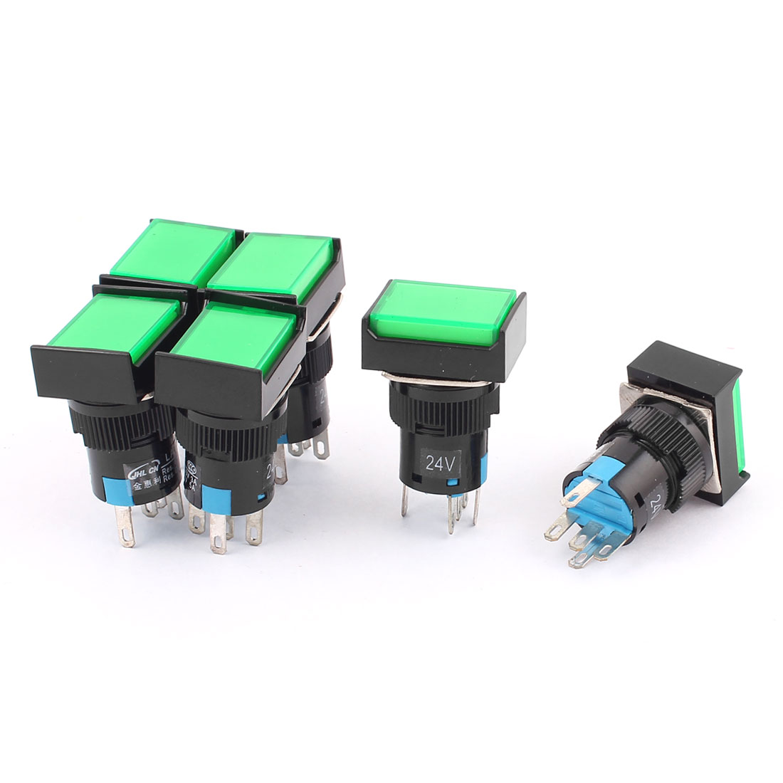 AC 250V 3A DC 30V 5A SPDT 5 Terminals Green Cap Momentary Push Button Switch 6Pcs