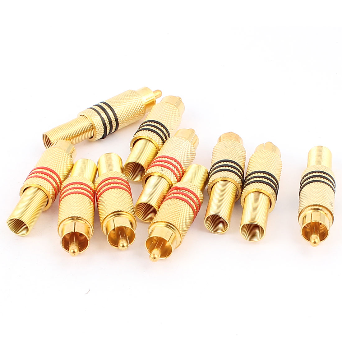 10pcs Metal Solderless Spring Male RCA Jack Plug Audio Coaxial Cable Adapter Connector