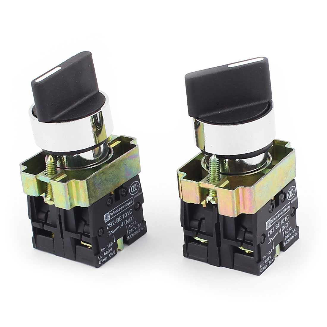 ZB2-BE101C AC 600V 10A 6KV DPST 2NO 3-Position Latching Rotary Selector Switch 2Pcs