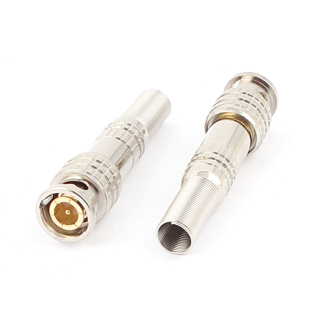2pcs Spring End Welding Video Cable RF Coaxial BNC Male Connector Plug Adapter