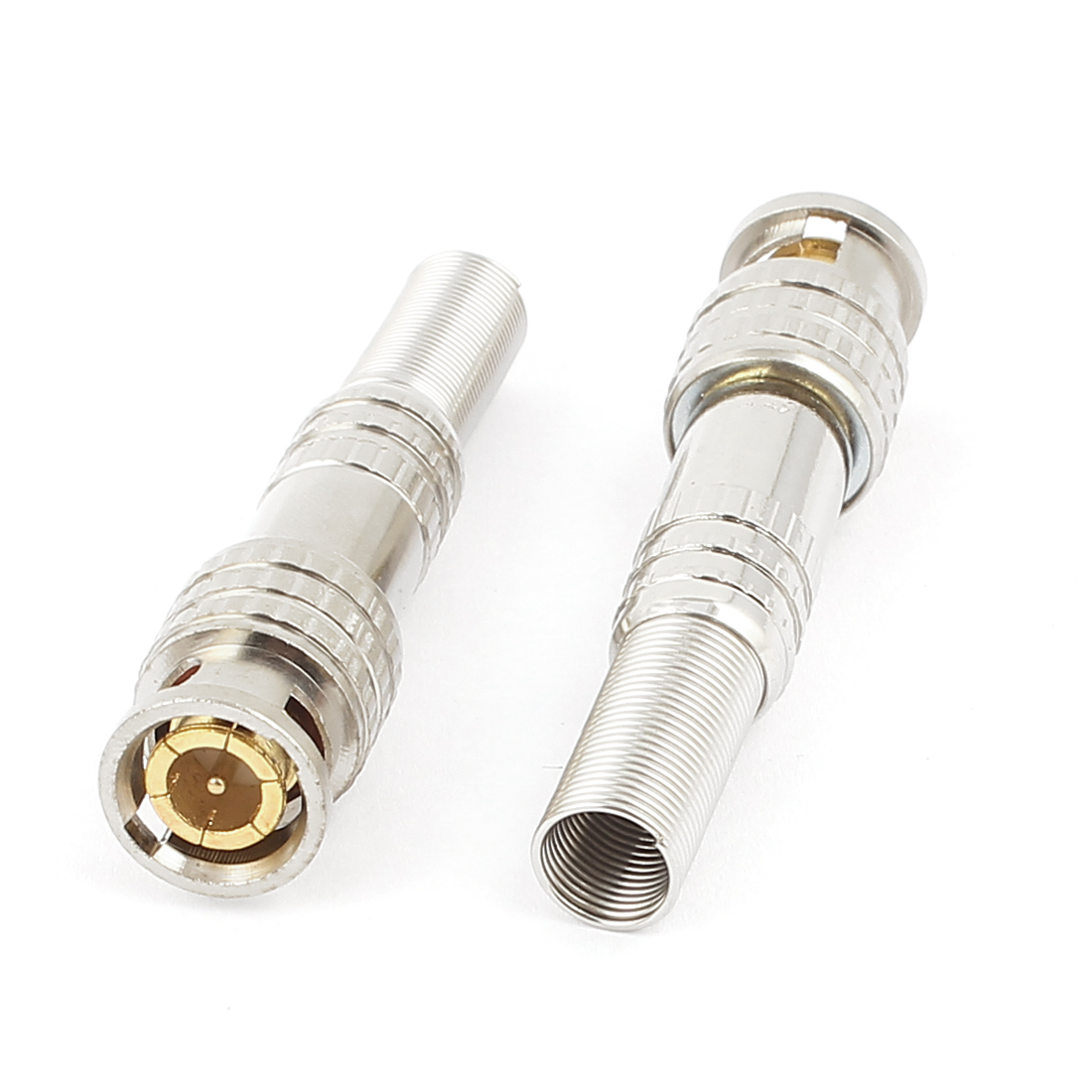 2pcs Spring Guard Video RF BNC Male Jack Plug Connector Adapter for Coaxial Cable Wire