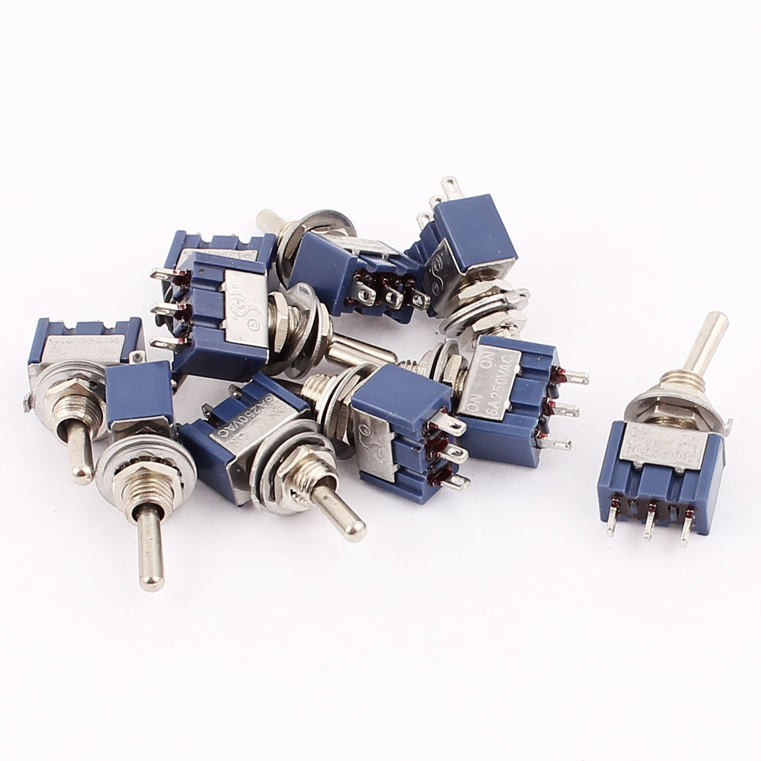 AC 250V 6A SPDT ON-ON 2 Positions 3 Terminals Latching Miniature Toggle Switch 10 Pcs