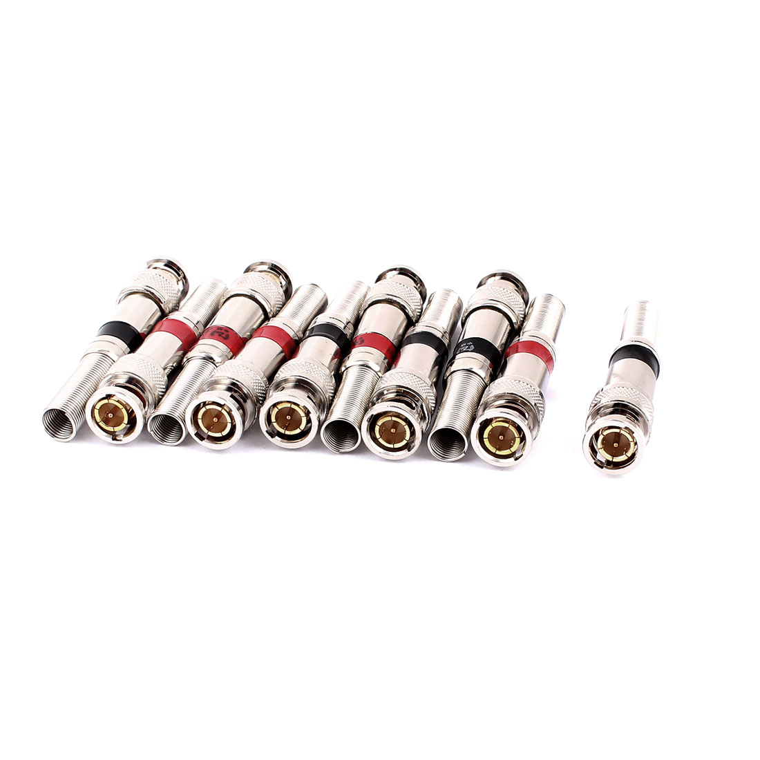 10pcs Metal Welding Spring End Coax BNC Male Plug RF Coupler Connector for Camera CCTV