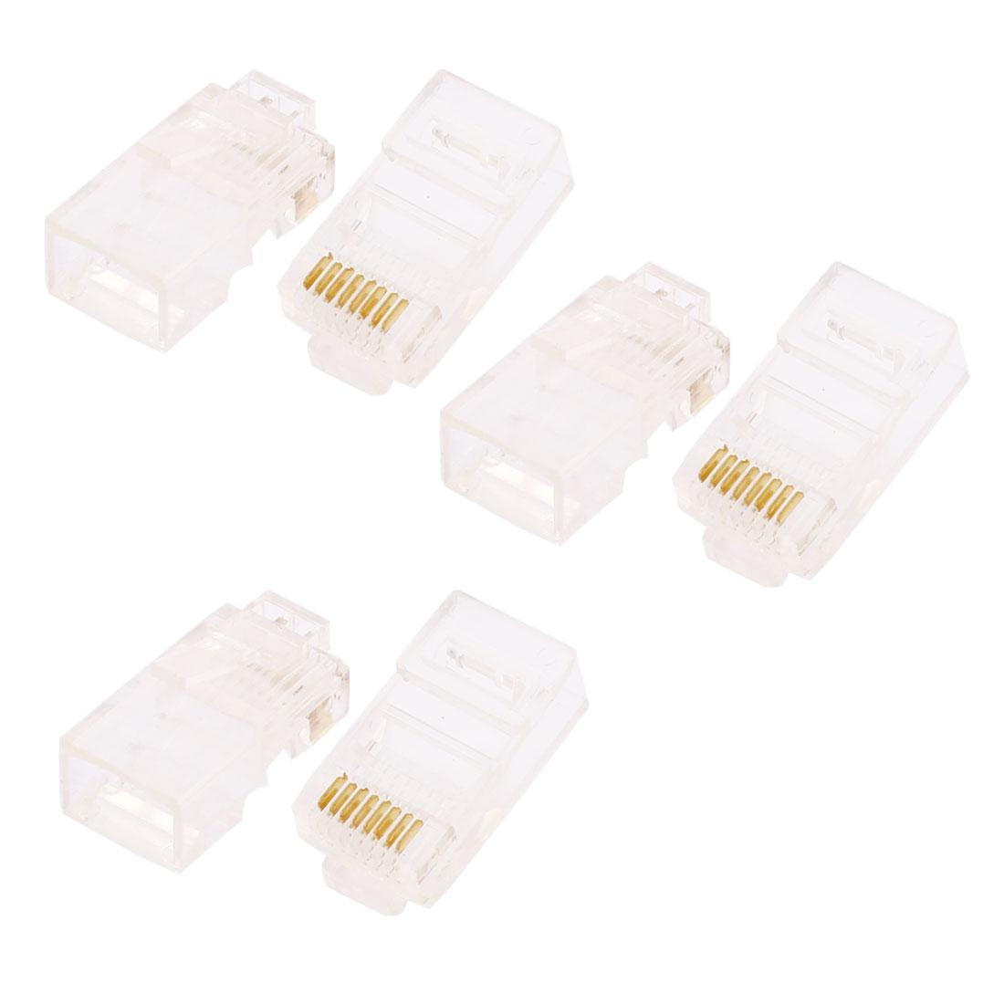 Cat5 Network LAN Cable 8P8C RJ45 Connector Modular Plug End 6pcs