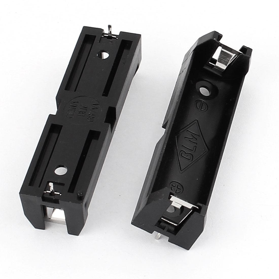2Pcs Plastic 2 Terminals 1 x 1.5V AA Battery Holder Box Case Black