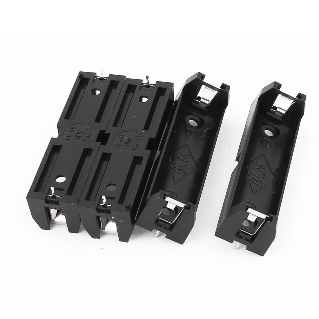 4Pcs Plastic 2 Terminals 1 x 1.5V AA Battery Holder Box Case Black